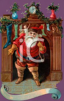 Jolly Old Fashioned Santa Coming Down the Chimney