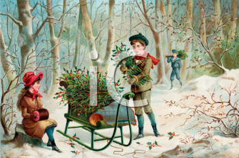 Vintage Scene of Children Gathering Mistletoe and Holly for Christmas