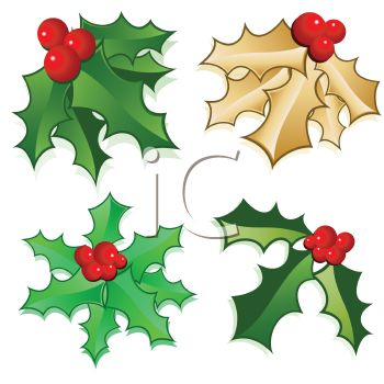 Collection of Christmas Holly - Royalty Free Clip Art Illustration