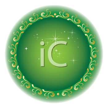 Sparkling Circular Design in Green and Gold