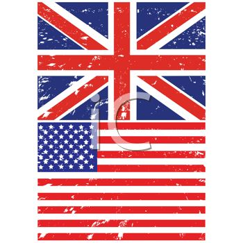 British and American Flags in a Grunge Style