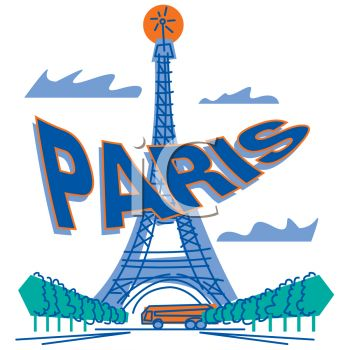 Cartoon of the eiffel tower with paris text royalty free clipart