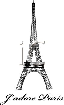Eiffel Tower with J'adore Paris Text