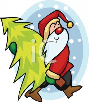 Cartoon Santa Claus Carrying a Christmas Tree