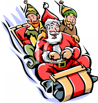 Santa and Elves Sledding
