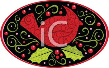 Red Cardinal Bird Design in an Oval with Holly