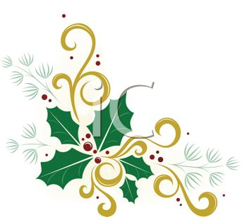 Christmas Holly Clipart Free.Royalty Free Clip Art Image Pretty Christmas Holly Design
