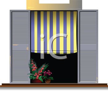 Realistic Window with a Striped Shade and Shutters