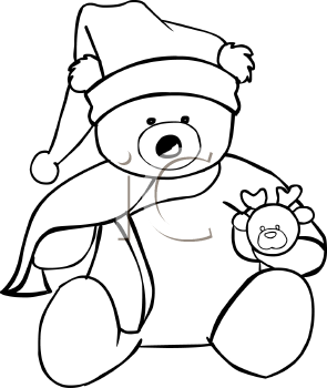 Coloring Page of a Christmas Teddy Bear