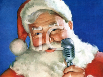 Classic Santa with an Old Fashioned Microphone