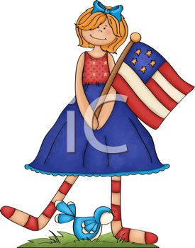 Red Haired Girl Holding an American Flag for the 4th of July