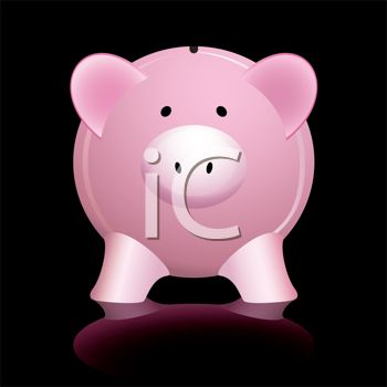 "This ""glossy pink piggy bank with reflection on a black background"" clipart"
