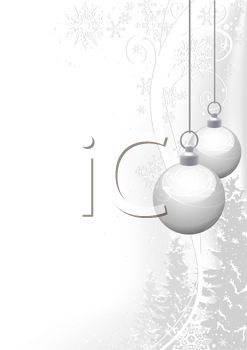 White Ornaments and Snowflakes on a Holiday Background