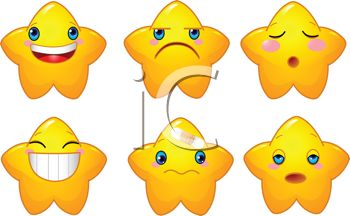Set of Star Shaped Emoticons Showing Emotions