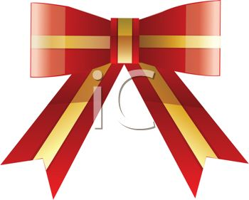 Festive Gold and Red Gift Bow