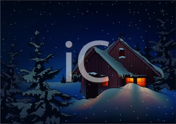 Royalty Free Clipart Image Cabin In A Snowy Woods At Night With Stars The Sky