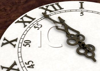 Hands of a Clock and Roman Numerals Depicting the New Year
