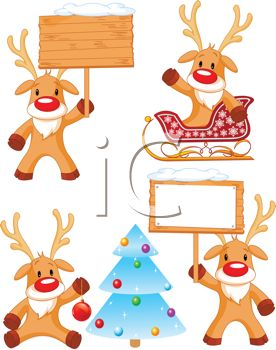 Digital Collage of Rudolph Reindeer in Different Poses