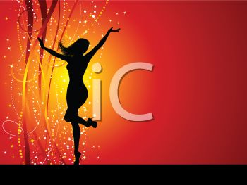Silhouette of a Dancing Woman on a Holiday Background