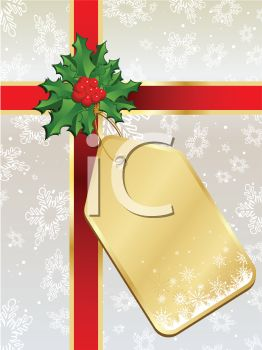 Golden Gift Tag on a Present Tied with a Red Ribbon