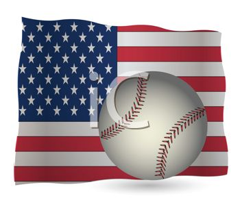 Patriotic Background of a Baseball on an American Flag