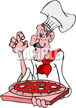 Cartoon Pizza Chef with a Big Nose