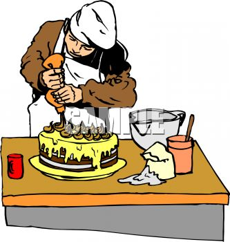 Baker Putting the Finishing Touches on a Cake