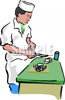 Asian Chef Cutting Vegetables