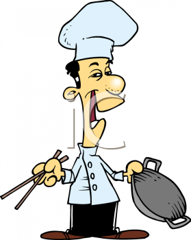 oriental chef holding a wok and chopsticks royalty free clip art rh clipartguide com cook clipart png book clipart