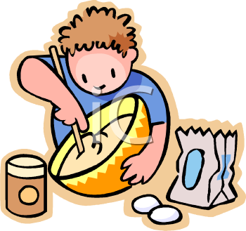 Cartoon of a Little Boy Baking Stirring a Bowl of Batter