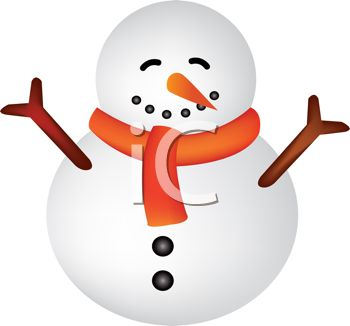 Fat Little Snowman with No Hat - Royalty Free Clip Art Picture