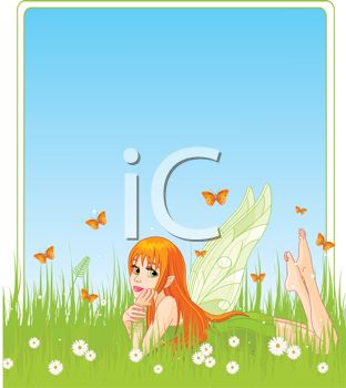 Red Haired Fairy Laying in a Meadow with Butterflies All Around