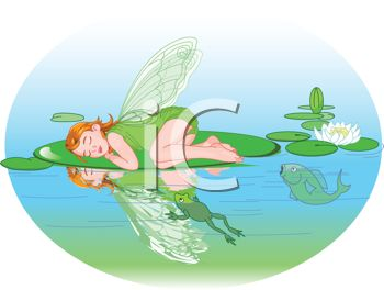 Winged Faerie Sleeping on a Lily Pad
