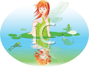Little Faerie Girl Sitting on a Lily Pad