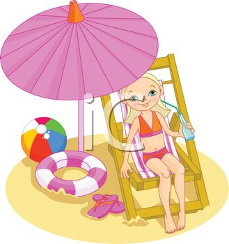 Blond Girl Sitting in a Chair at the Beach on Summer Break