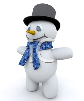 Cute 3D Snowman Wearing a Scarf and Top Hat