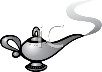 Magic Lamp with the Genie Coming Out in a Puff of Smoke
