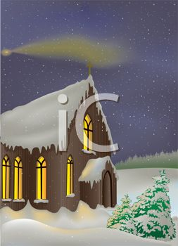 Country Church in the Snow with a Shooting Star in the Night Sky