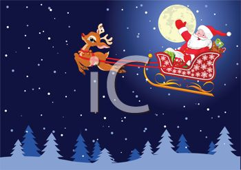 Christmas Eve Clipart.Royalty Free Clip Art Image Santa Flying Across The Sky On