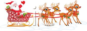 Cartoon of Santa and His Reindeer with the Sleigh