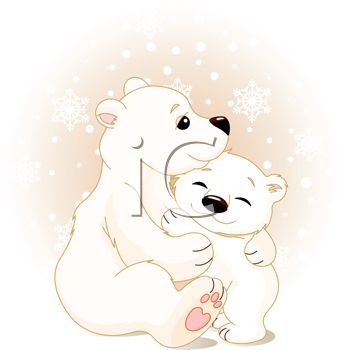 Polar Bear Mother and Baby Clip Art
