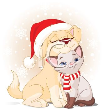 Siamese Kitten Snuggling with Her Puppy Friend at Christmas