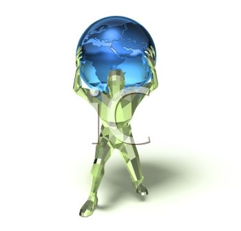 3D Depiction of Atlas with the World on His Shoulders