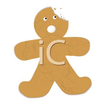 A Gingerbread Boy with a Bite Taken From His Head