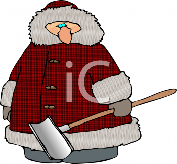 Fat Guy Wearing a Plaid Coat Holding a Snow Shovel