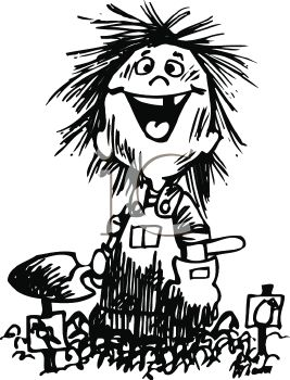 ... Funny Kid Covered in Dirt from Gardening - Royalty Free Clip Art Image