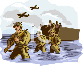 Royalty Free Clip Art Image: Soldiers Getting Off of a Boat During War