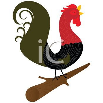 Stylized Rooster Crowing on a Log
