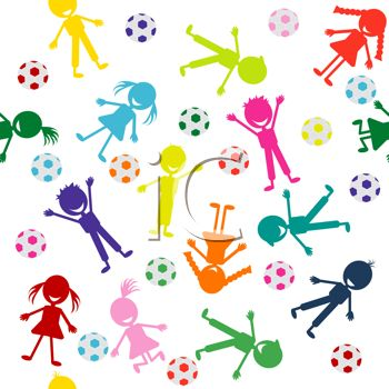 Colorful Silhouettes of Children Playing with Soccer Balls