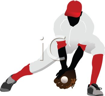 Silhouette of a Baseball Player Scooping Up the Ball